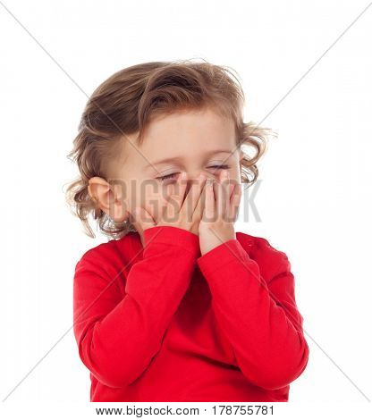 Tired baby waking up early isolated on a white background