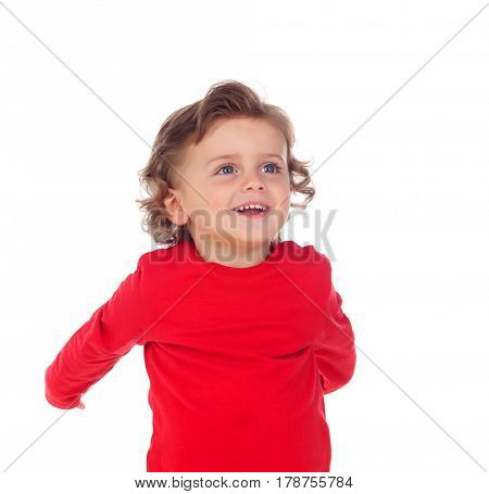 Happy baby wearing red t-shirt isolated on a white background