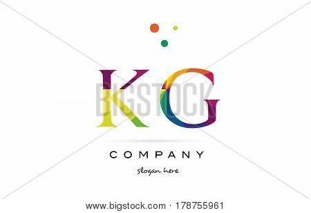 Kg K G  Creative Rainbow Colors Alphabet Letter Logo Icon