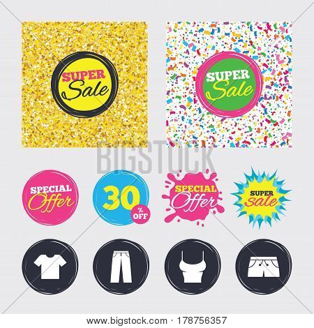 Gold glitter and confetti backgrounds. Covers, posters and flyers design. Clothes icons. T-shirt and pants with shorts signs. Swimming trunks symbol. Sale banners. Special offer splash. Vector