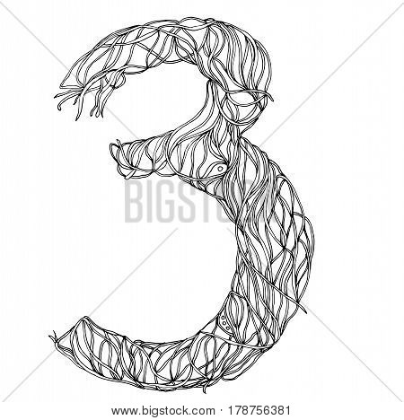 Collection of numbers of herbs close-up isolated on white background. Number 3. Can be used as adult coloring book, coloring page.