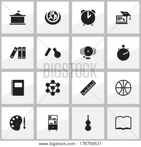 Set Of 16 Editable Science Icons. Includes Symbols Such As Copybook, Greek Alphabet, Fiddle And More. Can Be Used For Web, Mobile, UI And Infographic Design.