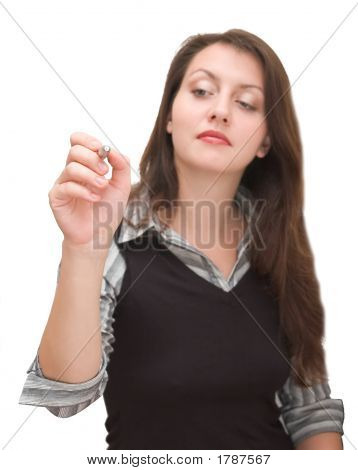 Woman With A Stylus Writting In Air