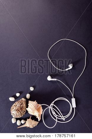 Travel concept. White headphones and seashells on a dark background closeup listen to the sound of the sea