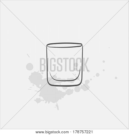 old fashioned glass hand drawn icon - vector illustration