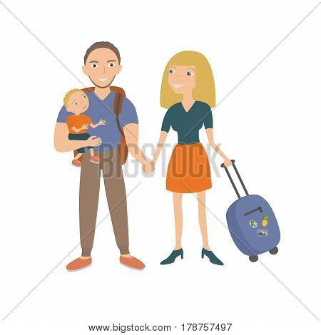 Family travel. Parents and children at the airport fly away for a vacation. Vector illustration of a flat design on isolated background