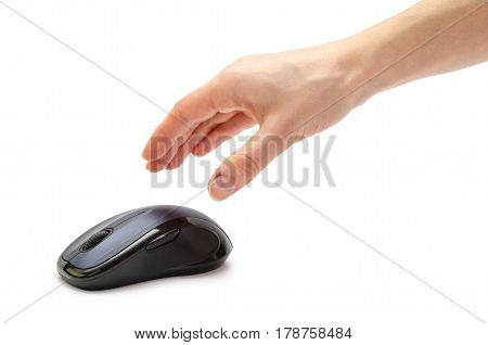 Female Hand Holding Computer Mouse.