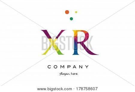 Xr X R  Creative Rainbow Colors Alphabet Letter Logo Icon