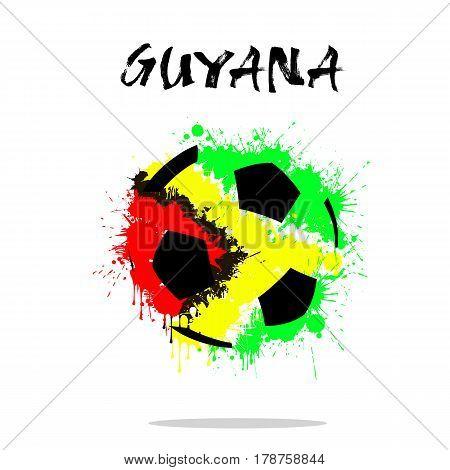 Flag Of Guyana As An Abstract Soccer Ball