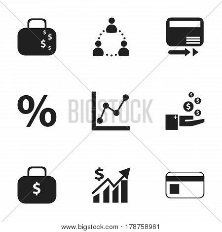 Set Of 9 Editable Analytics Icons. Includes Symbols Such As Graph Information, Money Bag, Revenue And More. Can Be Used For Web, Mobile, UI And Infographic Design.
