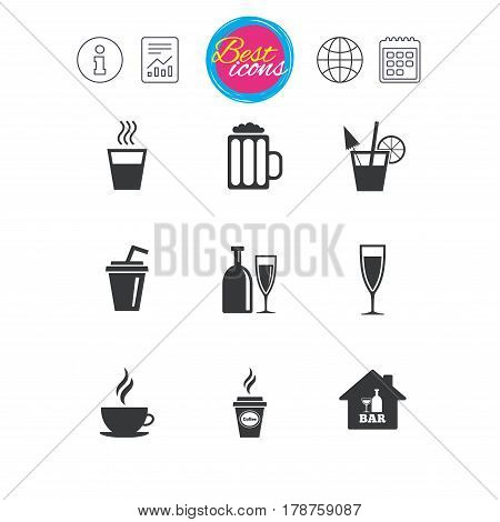 Information, report and calendar signs. Cocktail, beer icons. Coffee and tea drinks. Soft and alcohol drinks symbols. Classic simple flat web icons. Vector