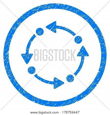 Rotate grainy textured icon inside circle for overlay watermark stamps. Flat symbol with dirty texture. Circled vector blue rubber seal stamp with grunge design.
