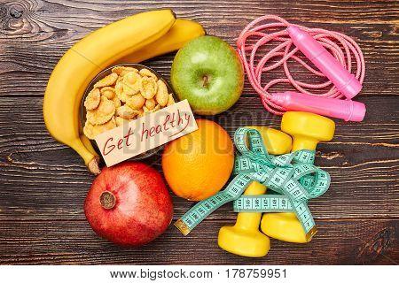 Sport tools, fruits and cereals. Formula of success.