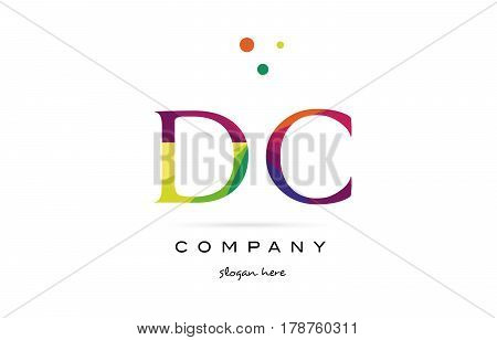 Dc D C  Creative Rainbow Colors Alphabet Letter Logo Icon