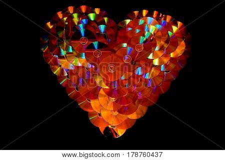 The symbol of the heart is lined with DVD discs. A unique mosaic.