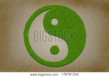 yinyang symbol from grass on a grungy vintage texture