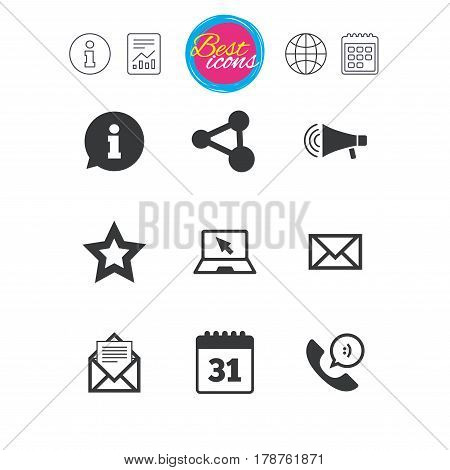 Information, report and calendar signs. Communication icons. Contact, mail signs. E-mail, information speech bubble and calendar symbols. Classic simple flat web icons. Vector