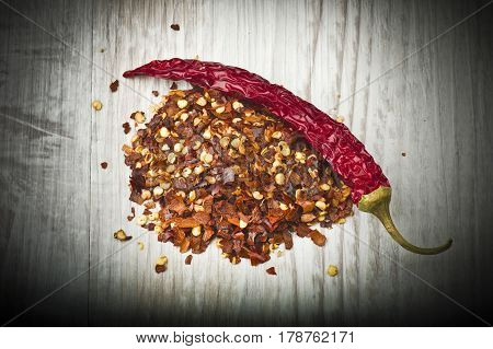 seeds of dry red hot chili peppers