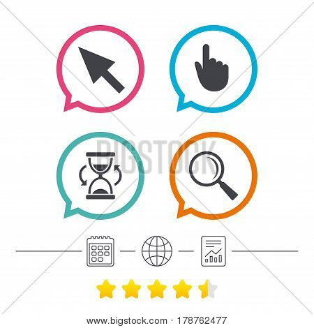 Mouse cursor and hand pointer icons. Hourglass and magnifier glass navigation sign symbols. Calendar, internet globe and report linear icons. Star vote ranking. Vector