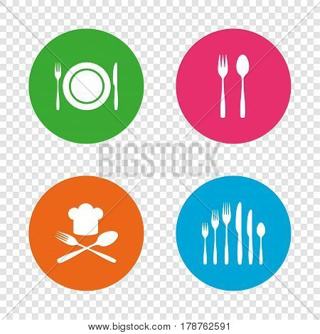 Plate dish with forks and knifes icons. Chief hat sign. Crosswise cutlery symbol. Dessert fork. Round buttons on transparent background. Vector