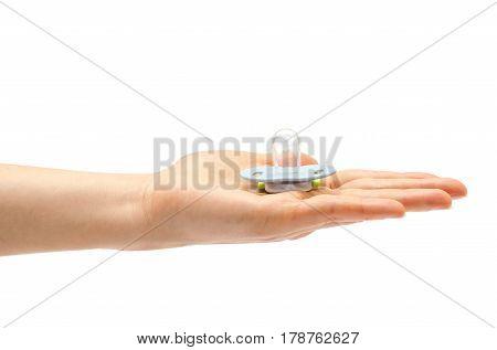 Woman Hand Holding Kid Dummy Nipple.
