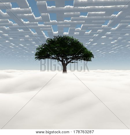 Green tree on a field of clouds  .3D Rendering