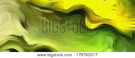 Abstract painting mostly in shades of green.
