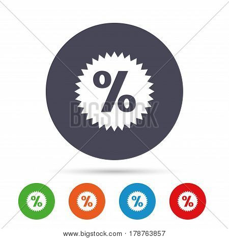 Discount percent sign icon. Star symbol. Round colourful buttons with flat icons. Vector