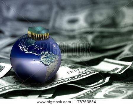 Globe and microchip on US dollars.  Some elements provided courtesy of NASA     3D Rendering