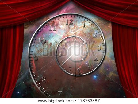 Spiral of time in endless space behind red curtains.  Some elements provided courtesy of NASA     3D Rendering
