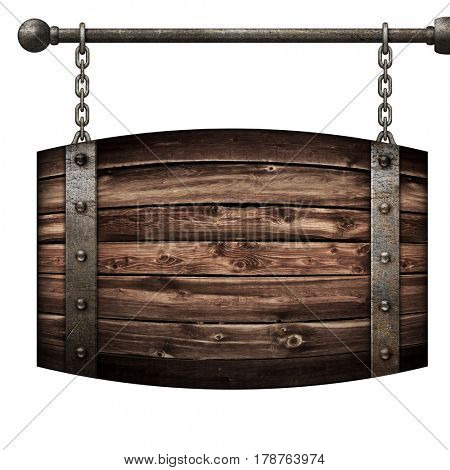 Wooden barrel medieval signboard hanging on chains isolated 3d illustration