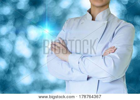 Cook on blurred background concept design banner.
