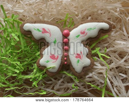 Delicious Easter cookies cake as the butterly with sugar icing
