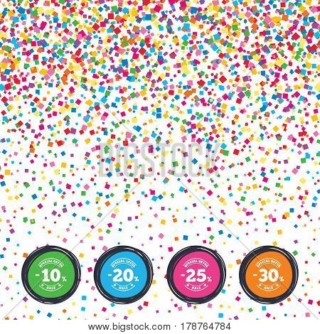 Web buttons on background of confetti. Sale discount icons. Special offer stamp price signs. 10, 20, 25 and 30 percent off reduction symbols. Bright stylish design. Vector