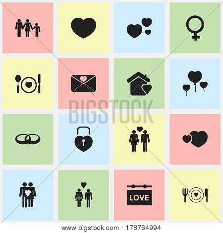 Set Of 16 Editable Heart Icons. Includes Symbols Such As Darling, Wedding, Beloveds And More. Can Be Used For Web, Mobile, UI And Infographic Design.