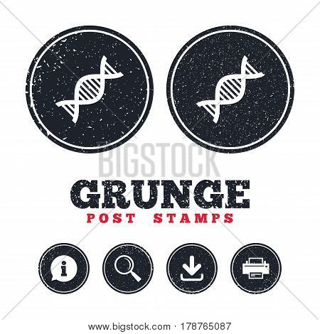 Grunge post stamps. DNA sign icon. Deoxyribonucleic acid symbol. Information, download and printer signs. Aged texture web buttons. Vector