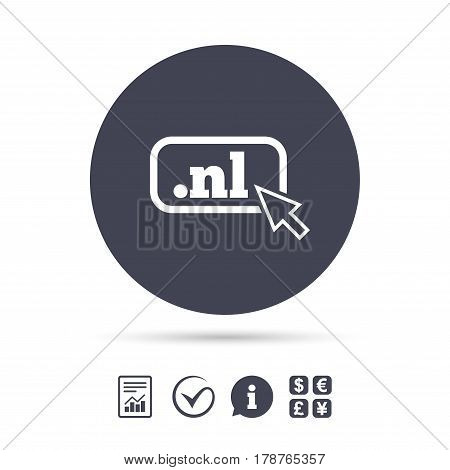 Domain NL sign icon. Top-level internet domain symbol with cursor pointer. Report document, information and check tick icons. Currency exchange. Vector