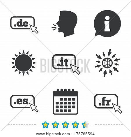 Top-level internet domain icons. De, It, Es and Fr symbols with cursor pointer. Unique national DNS names. Information, go to web and calendar icons. Sun and loud speak symbol. Vector