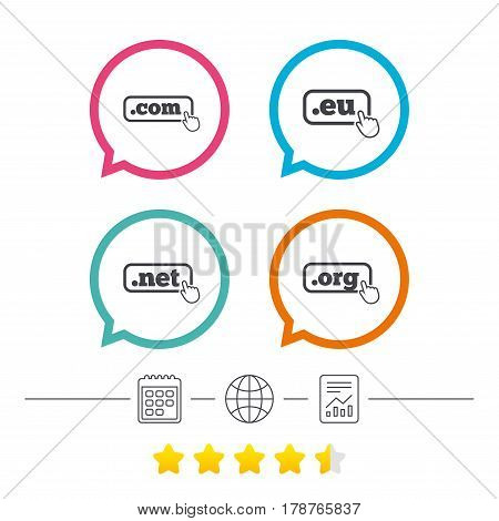 Top-level internet domain icons. Com, Eu, Net and Org symbols with hand pointer. Unique DNS names. Calendar, internet globe and report linear icons. Star vote ranking. Vector