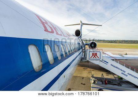 Minsk Minsk National Airport Belarus - Oct 01 2016: Tupolev Tu-154 EW-85741 Belavia Airlines preparing before flight to Gomel