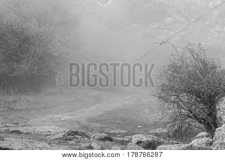 Black and white shot of trail in mountain valley in fog. Torcal in Antequera Malaga