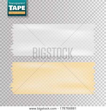 Set of white and yellow transparent scotch tape sticky slices isolated. Vector illustration