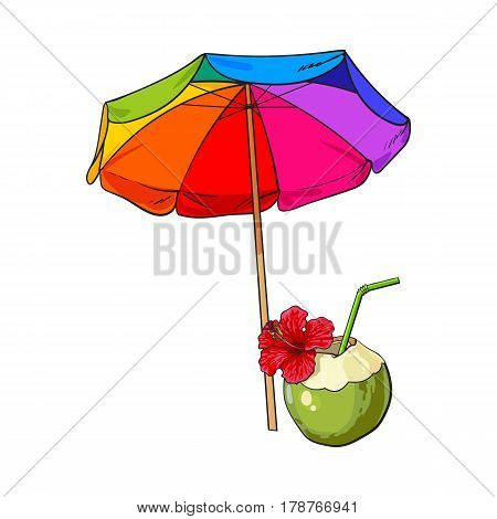 Rainbow colored, open beach umbrella and coconut cocktail, drink, sketch vector illustration isolated on white background. Hand drawn beach umbrella and coconut drink, symbol of summer vacation