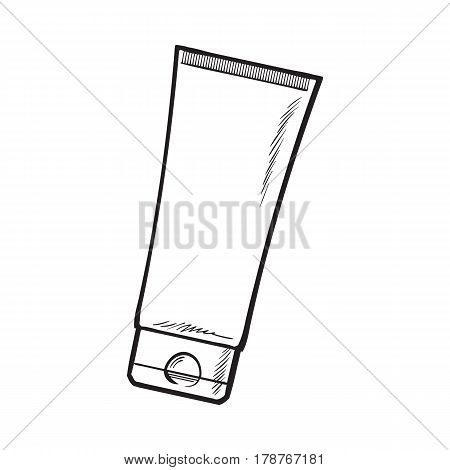 Blank, unlabelled tube of sun protection, moisturizing cream or facial mask, black and white sketch vector illustration isolated on white background. Hand drawn unlabelled cream tube, package design
