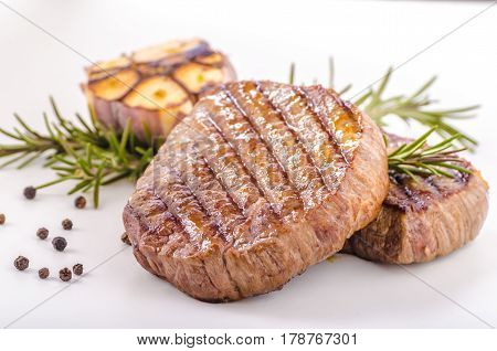 Steak With Garlic, Pepper And Herbs