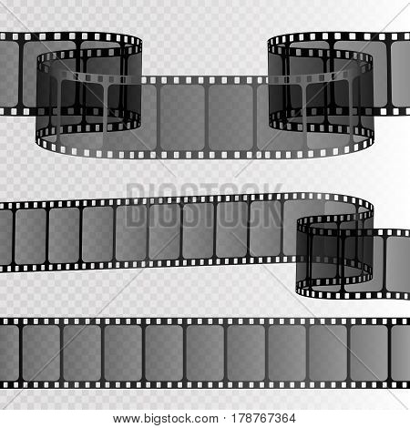 Film strip isolated on transparent background. Movie reel template for your design. Vector illustration