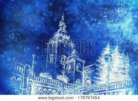 church dominant in the old town, pencil drawing with colorful effect
