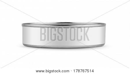 White blank tincan silver metal Tin Can, canned Food. Isolated on white background. Ready for your design. Real product packing. Mockup.