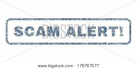 Scam Alert exclamation text textile seal stamp watermark. Blue jeans fabric vectorized texture. Vector caption inside rounded rectangular shape. Rubber sticker with fiber textile structure.