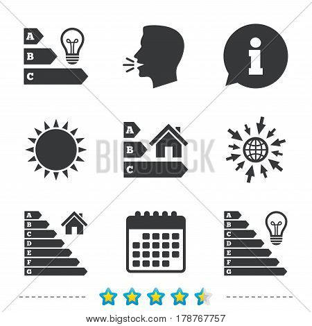 Energy efficiency icons. Lamp bulb and house building sign symbols. Information, go to web and calendar icons. Sun and loud speak symbol. Vector